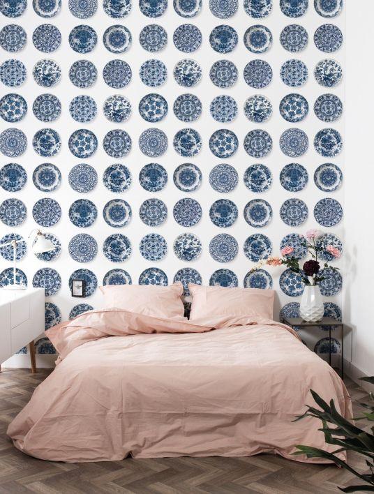 Patroon behang Royal blue bordjes