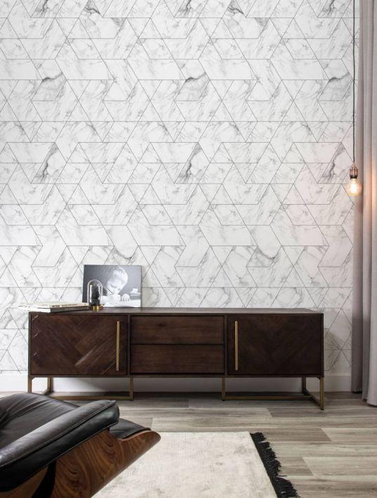 Patroon behang Wit marmer mosaic