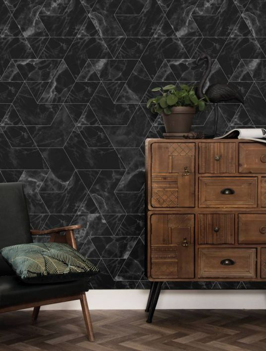 Patroon behang Zwart marmer mosaic