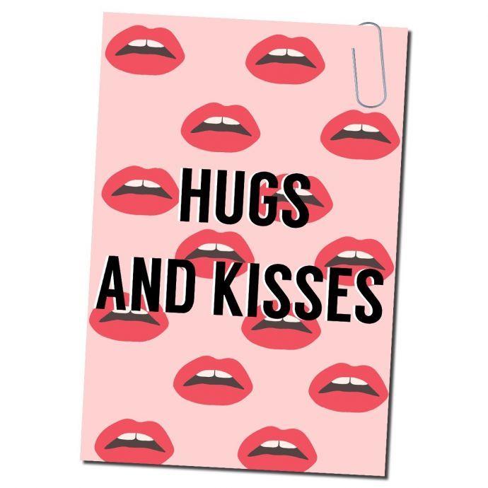 Ansichtkaart hugs and kisses