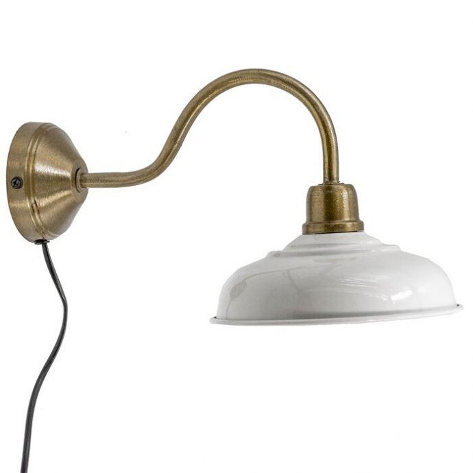 Wandlamp wit met goud