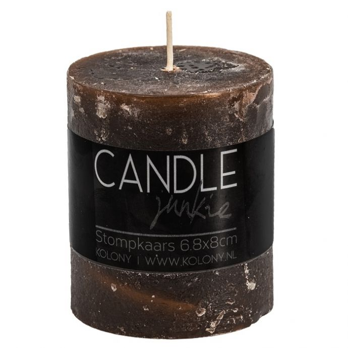 Candle Junkie stompkaars bruin