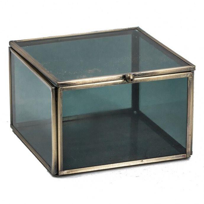 Glazen opbergdoos goud