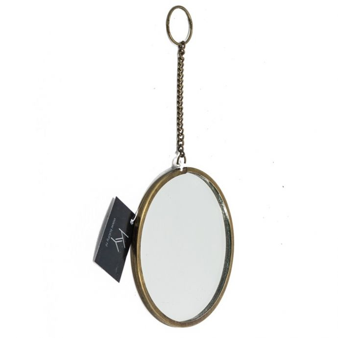 Hangspiegeltje rond met ketting
