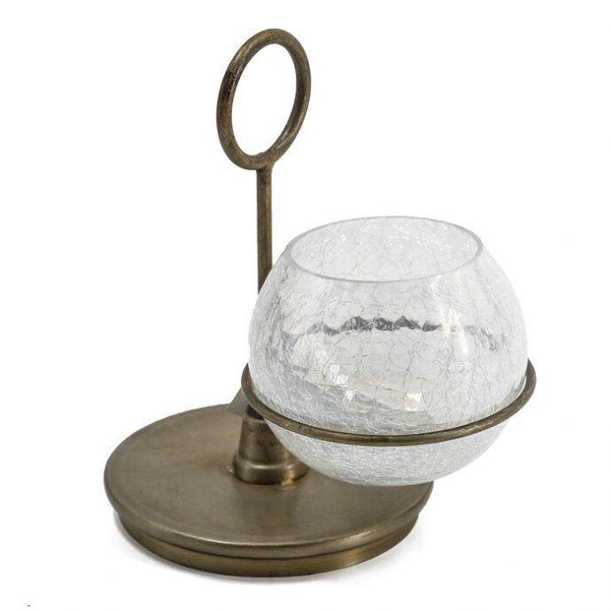 Waxinehouder metaal met glas
