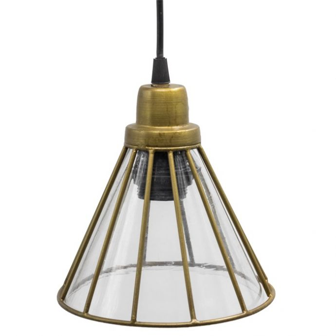 Hanglamp met glas goud