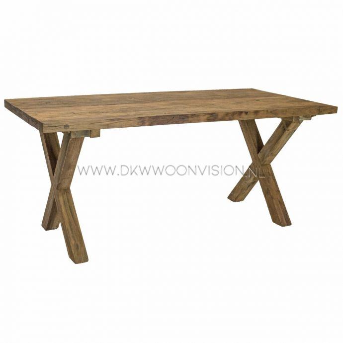 Java tafel met houten x-poot