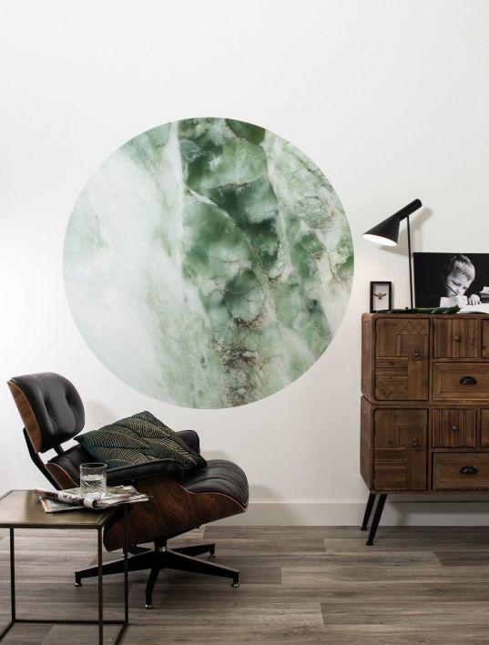 Behangcirkel Marmer groen