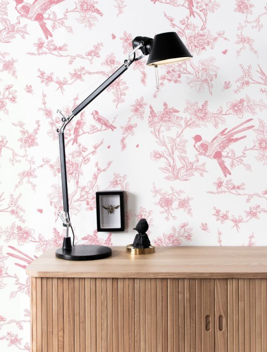 Patroon behang Birds & blossom