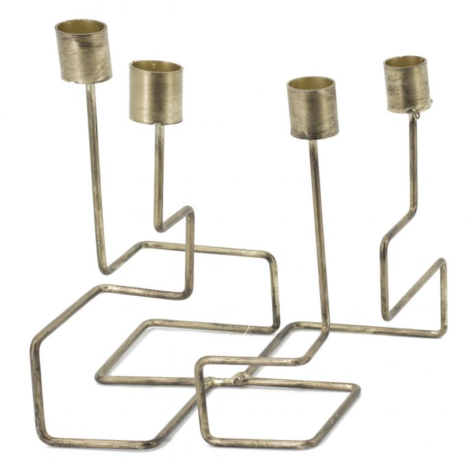 Set van 2 kaarsenstandaard goud metaal