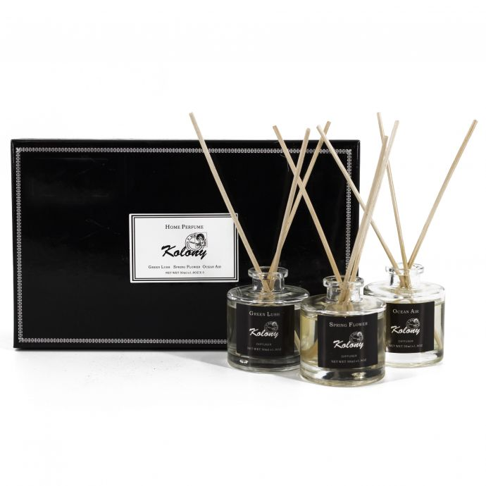 Set van 3 geurdiffusers Sweet kiss, Into the woods & Fresh linen