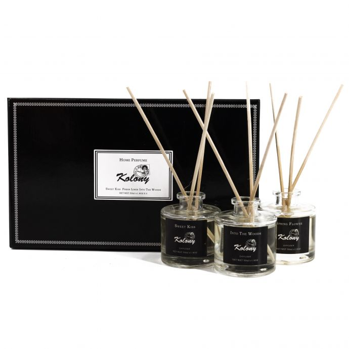 Set van 3 geurdiffusers Spring flower, Ocean air & Green lush
