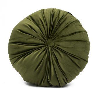 Rond velvet kussen groen